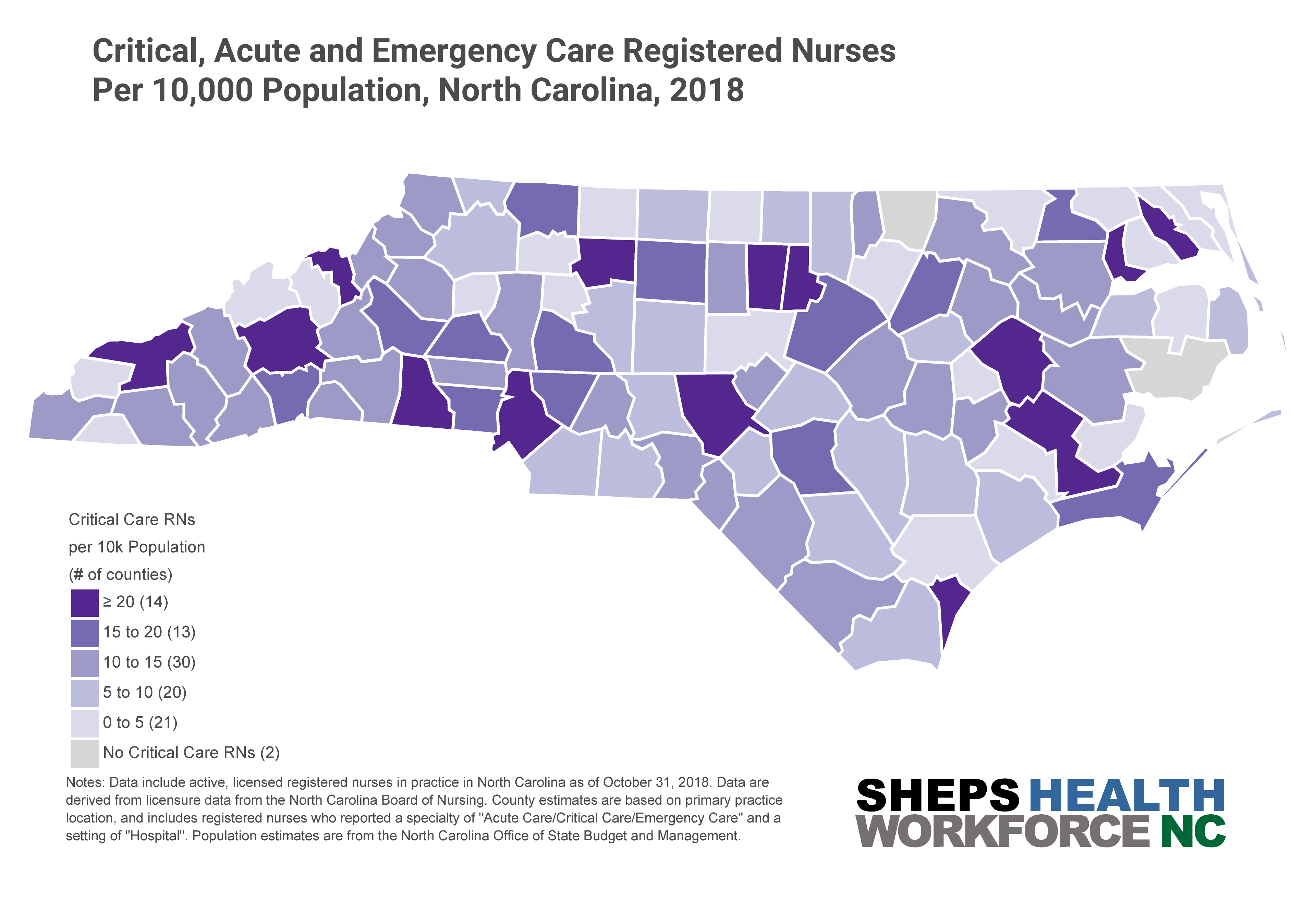 Map of Critical, Acute, and Emergency Care Registered Nurses per 10,000 population by County, North Carolina, 2018.