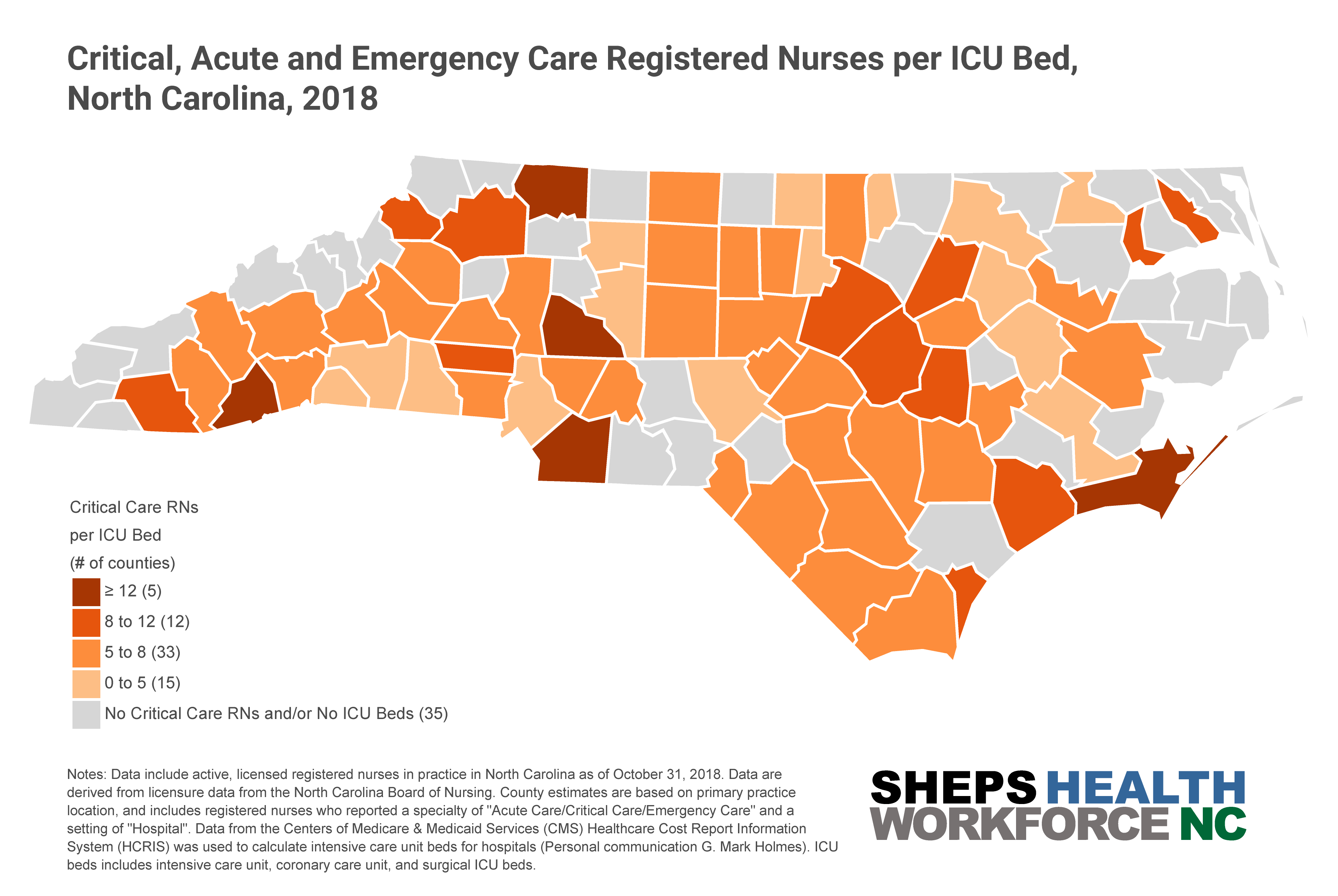 Map of Critical, Acute, and Emergency Care Registered Nurses per ICU Bed by County, North Carolina, 2018.